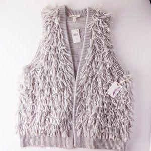 NEW Jessica Simpson Gray Fringe Vest